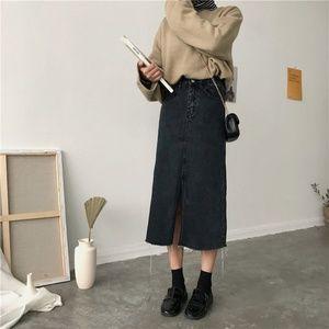 Dresses & Skirts - Korean Fashion Long Denim Midi Skirt with Slit